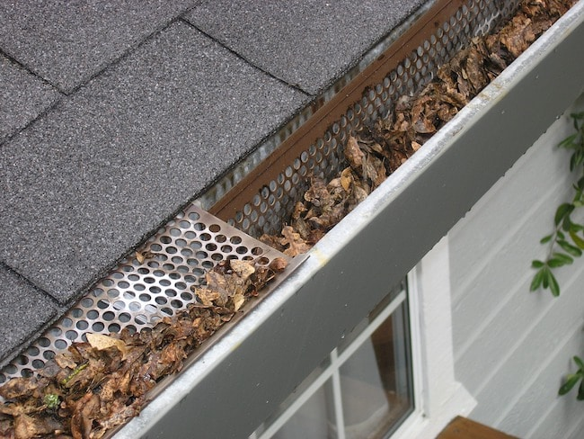 A gutter with leaves that could use one of the best solar gutter lights of 2020