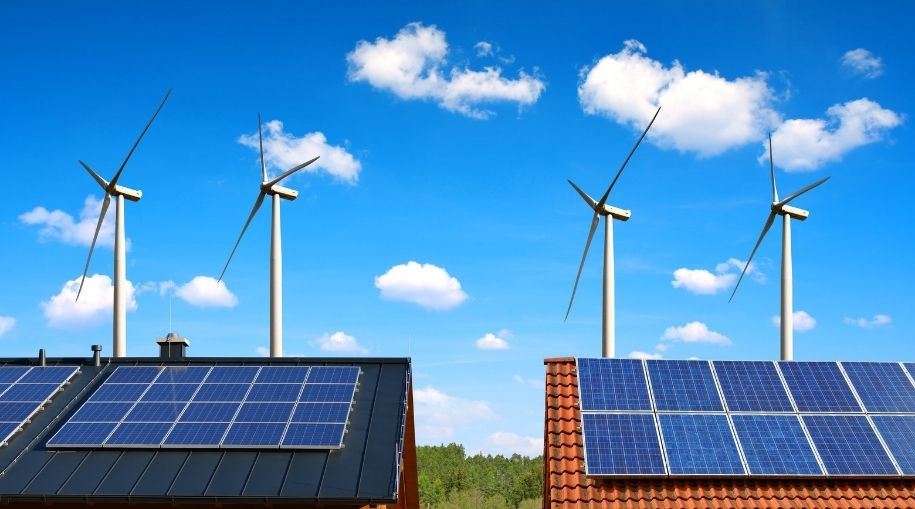 Alternative Sources Of Energy including solar panel and wind turbines