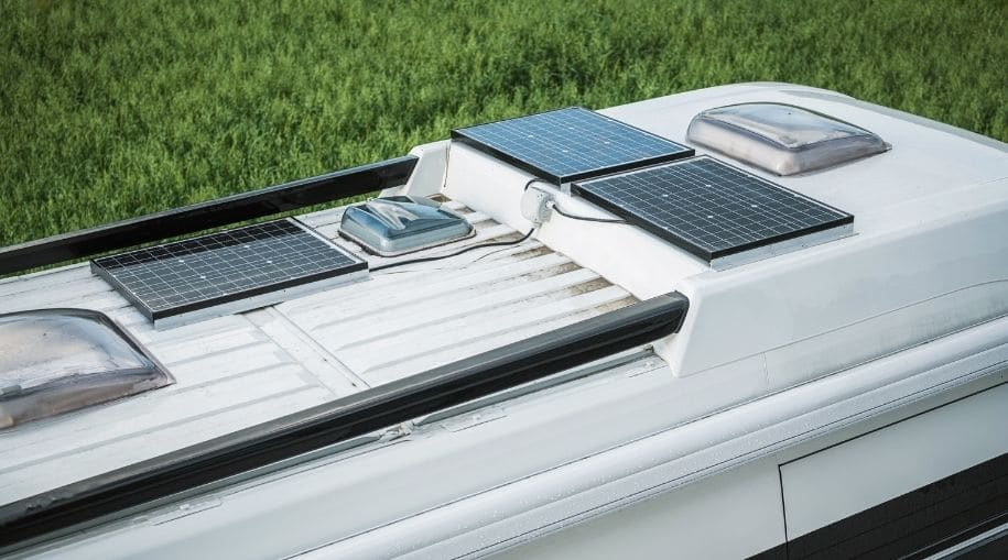 The top-view of Three Solar Panels For RV Solar System
