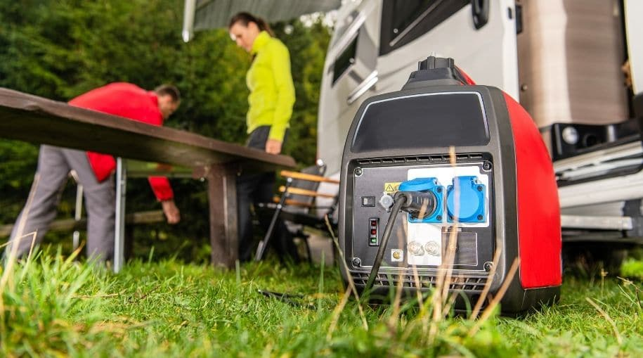 A generator powering a RV with an inverter